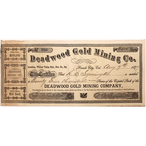 Nevada City, Deadwood Mining Certificate  [128109]