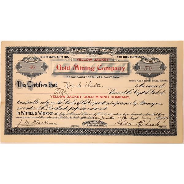 Yellow Jacket Gold Mining Company of Plumas County Stock Certificate  [139011]