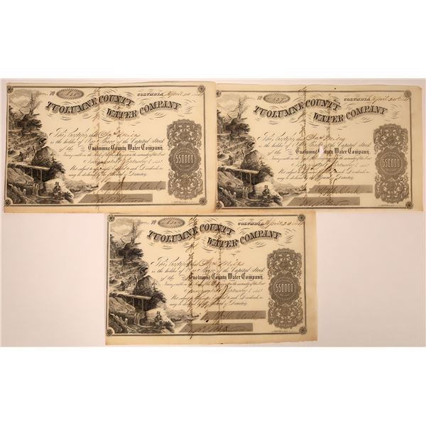 3 Tuolumne County Water Co. Stocks Signed by D. O. Mills with Edgar, Charles and James Mills  [13024