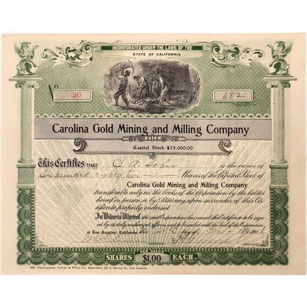 Carolina Milling & Mining Stock Certificate  [128110]