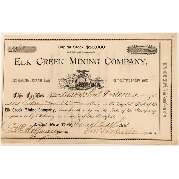 Elk Creek Mining Company Stock, Ouray, Colorado, 1881  [118608]