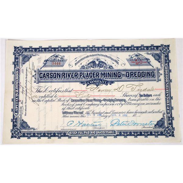 Carson River Placer Mining & Dredging Stock, 1898  [118648]