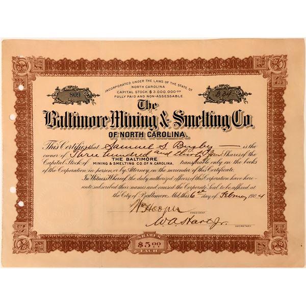 Baltimore Mining & Smelting Co Stock, North Carolina, 1904  [118434]