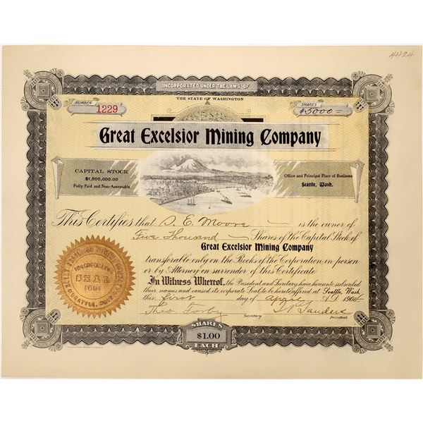 Great Excelsior Mining Co. Stock Certificate  [128113]