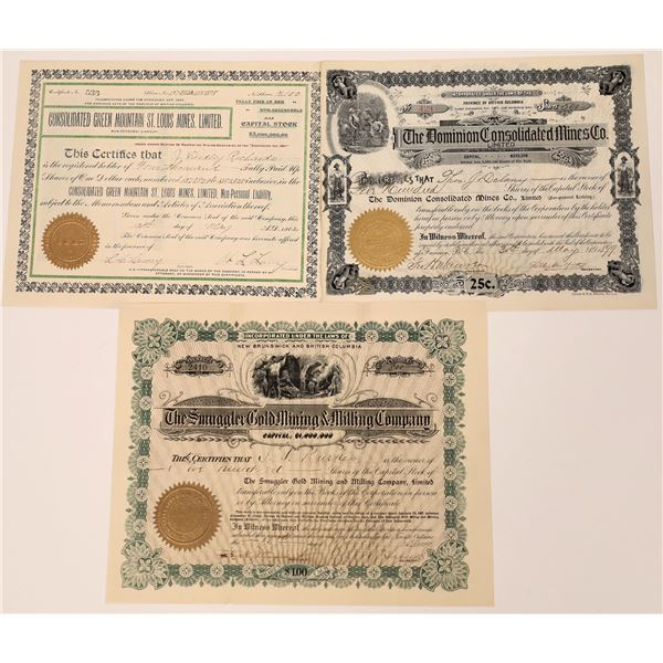 Fairview, Osoyoos Mining Division Stock Certificates  [130482]