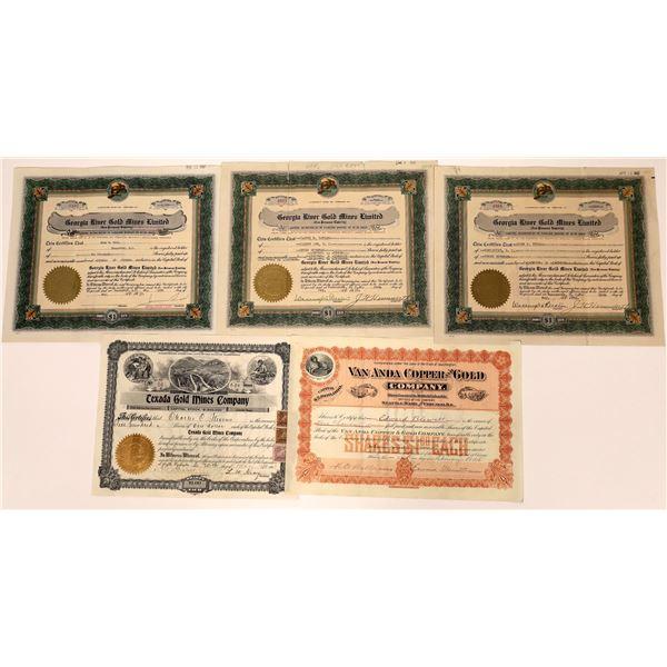 Georgia River Mining Stock Certificate Group  [130472]