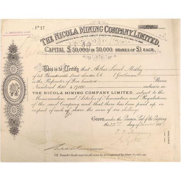 Nicola Mining Company Stock Certificate  [130450]
