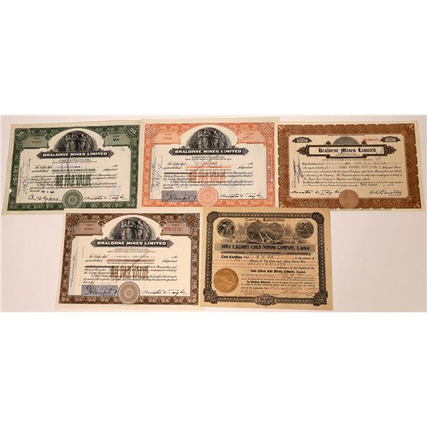Lillooet Mining Division, British Columbia Stock Certificate Group  [130484]