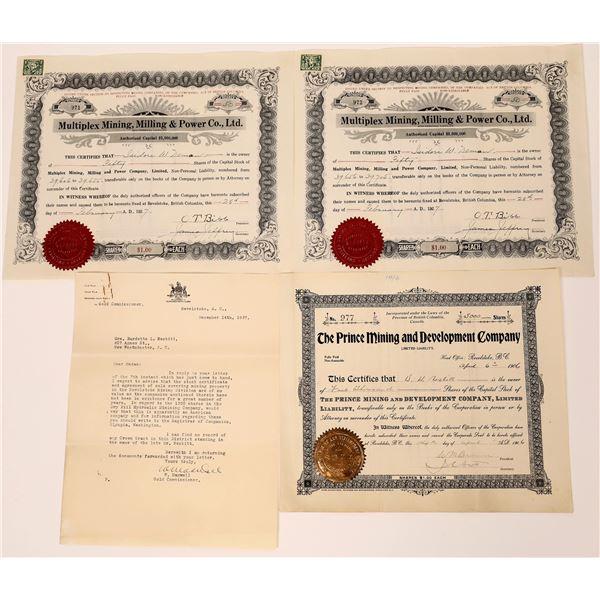 Revelstoke, British Canada Mining Stock Certificate Group  [130486]