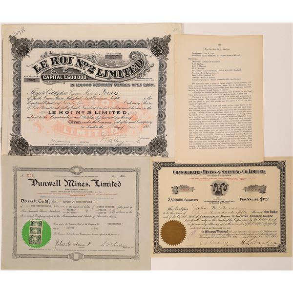Trail, British Columbia Mining Stock Certificate Group+C553  [130481]