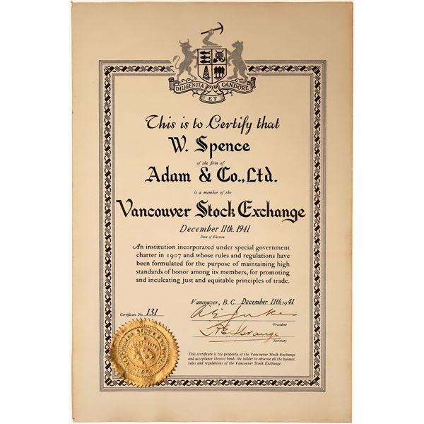 Vancouver Stock Exchange Certificate  [130489]