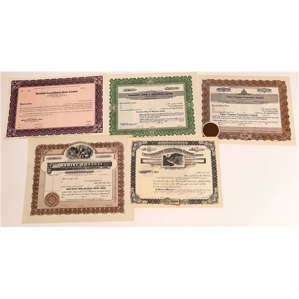 Five nice unissued British Columbia Mining Certificates  [130466]