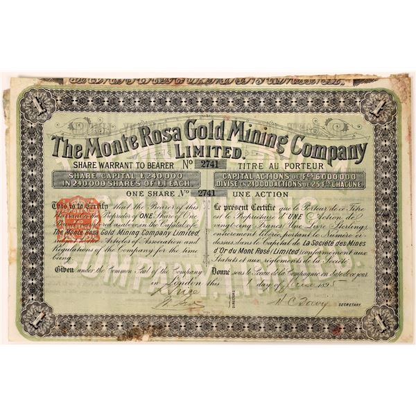 Monte Rosa Gold Mining Company Stock Certificate  [130458]