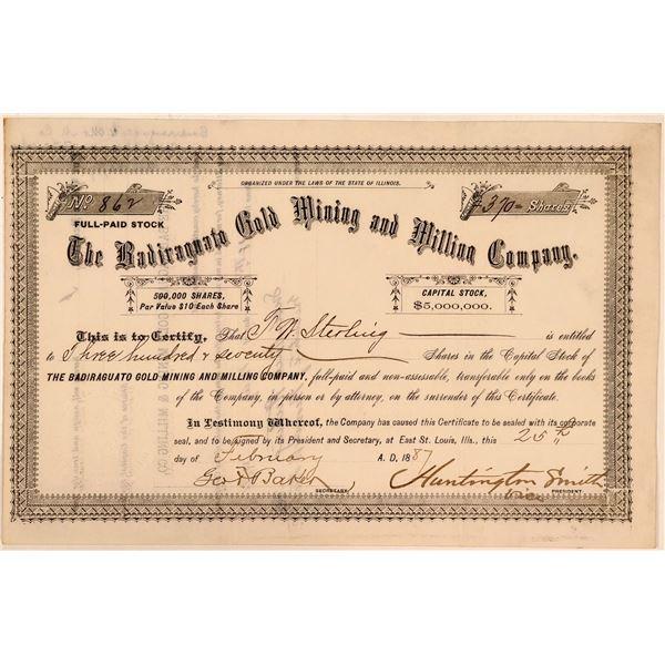 Badiraguato Gold Mining & Milling Company Stock Certificate  [107793]