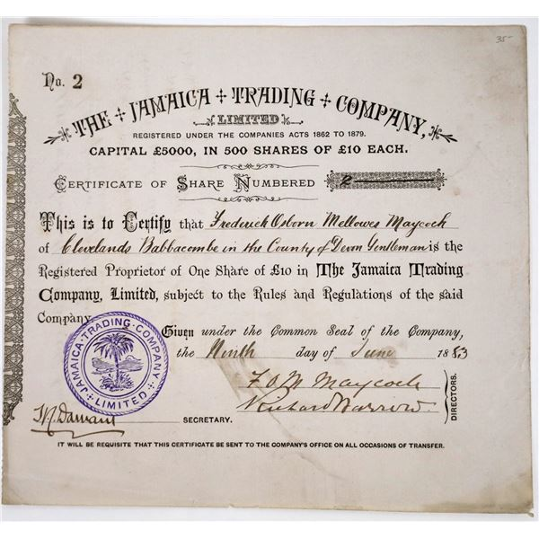 The Jamaica Trading Company Stock Certificate, 1883  [118626]
