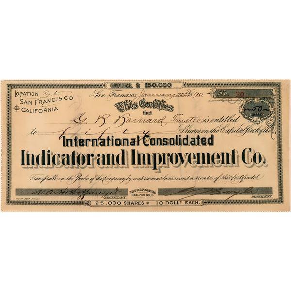Int'l. Cons. Indicator & Improvement Co Stock  [118444]
