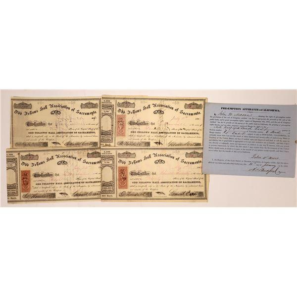 Odd Fellows Hall of Sacramento Stock Certificates  [138468]