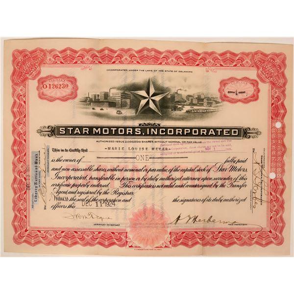 Star Motors Stock Certificate  [119401]