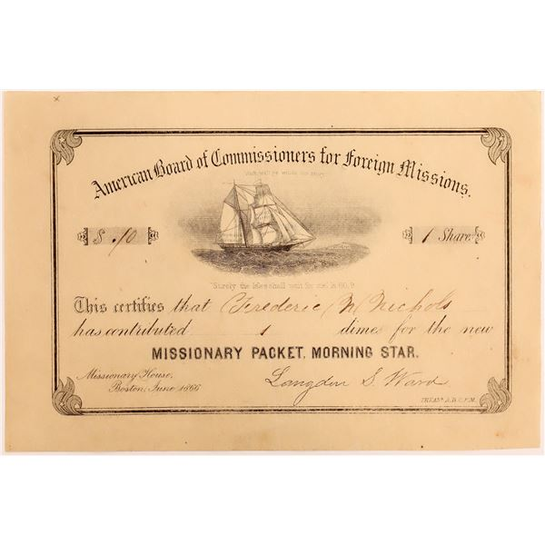 American Board of Commissioners for Foreign Missions Certificate  [130541]