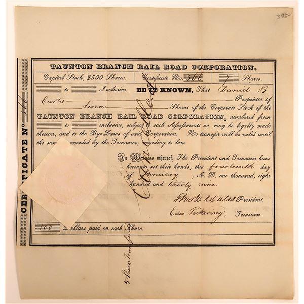Taunton Branch Railroad Corporation Certificate - one of Massachusetts Earliest Railroads  [130262]