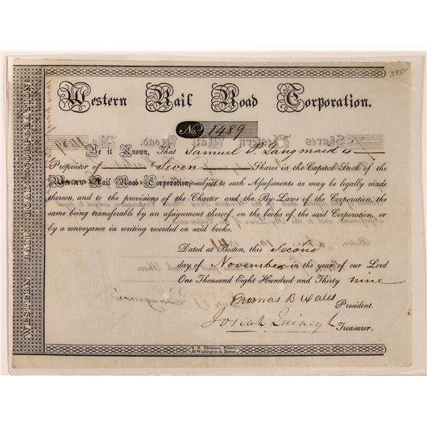 Western Railroad Corporation Certificate - 1839  [130263]