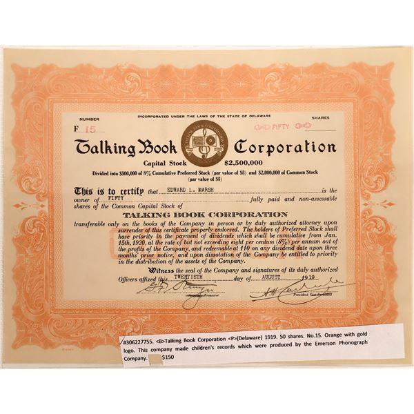 Talking Book Corporation Stock Certificate  [128820]