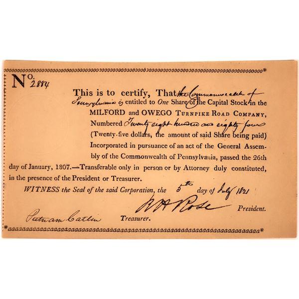 Milford & Owego Turnpike Road Company Stock Certificate, 1821  [130251]