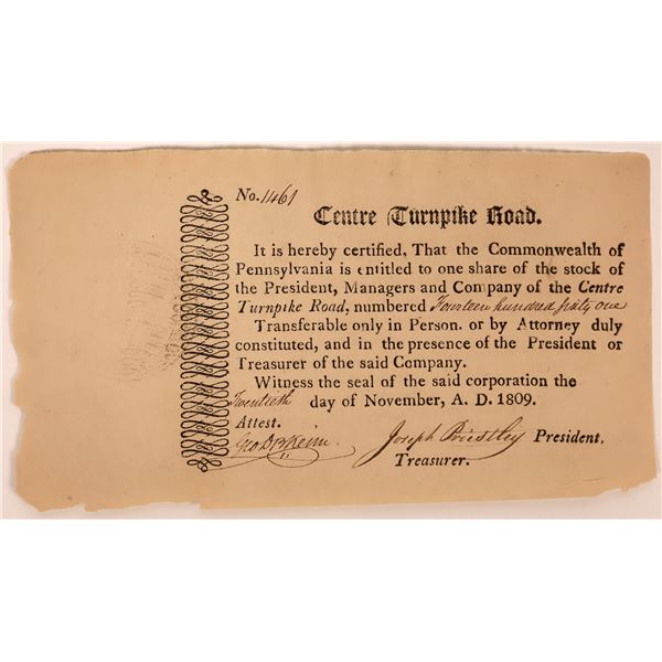 Centre Turnpike Road Stock Certificate, 1809  [130250]