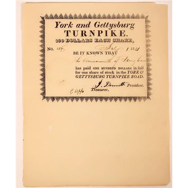 York & Gettysburg Turnpike Road Stock Certificate, 1821  [130252]