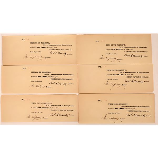 Corodus Navigation Company Certificate Collection (lot of 6)  [130256]