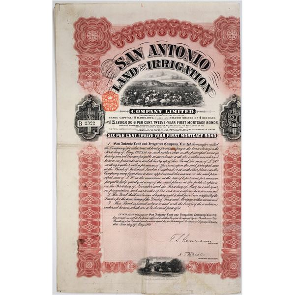 San Antonio Land & Irrigation 6% Bond, 1911, Signed by F.S. Pearson  [118622]