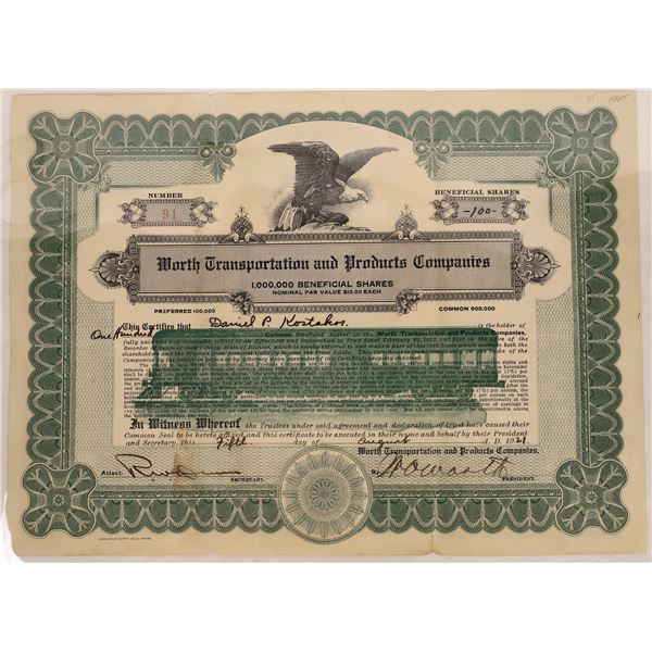 Worth Transportation and Products Companies Stock Certificate  [128818]