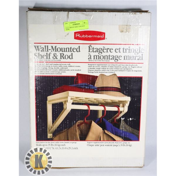 WALL MOUNT SHELF AND ROD (NEW)