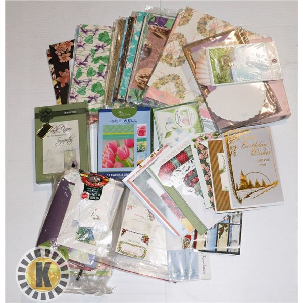 FLAT OF CARDS, ENVELOPES, GIFT WRAPPING PAPER