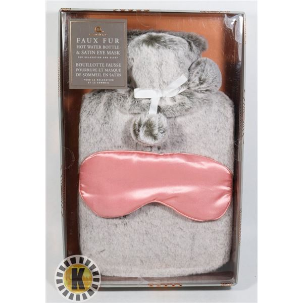 NEW FAUX FUR HOT WATER BOTTLE AND SATIN EYE MASK