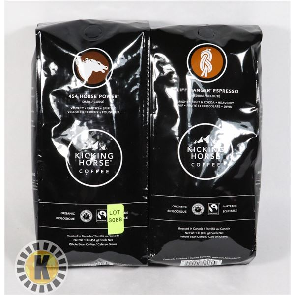 TWO BAGS OF KICKING HORSE COFFEE