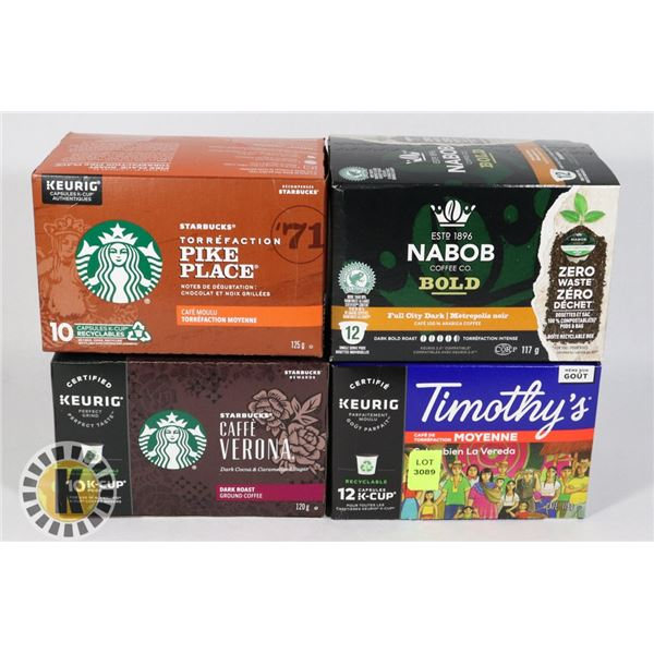 FOUR ASSORTED BOXES OF COFFEE PODS