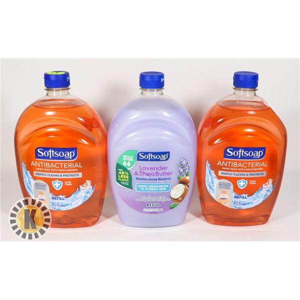 THREE BOTTLES OF SOAP REFILLS