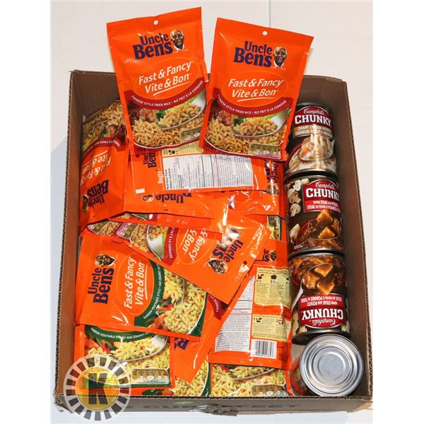 FLAT OF UNCLE BENS RICE AND CAMPBELLS SOUP