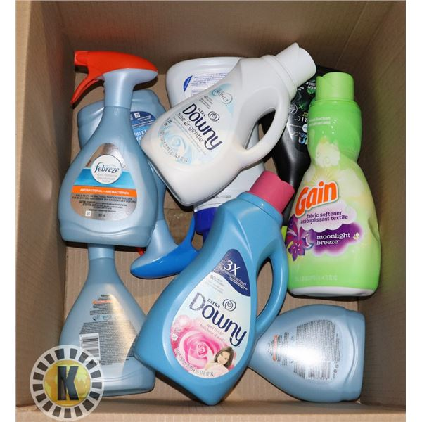 BOX OF LAUNDRY PRODUCTS