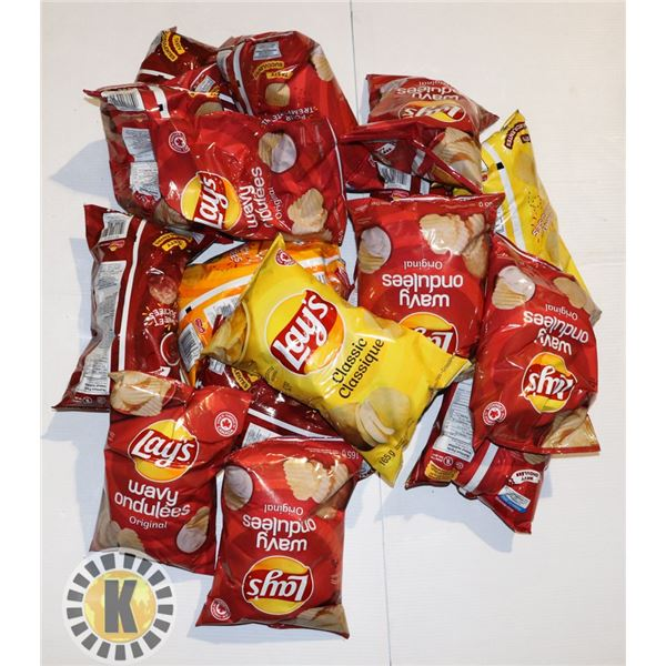 BOX OF ASSORTED CHIPS (ALL PAST BEST BEFORE DATE)