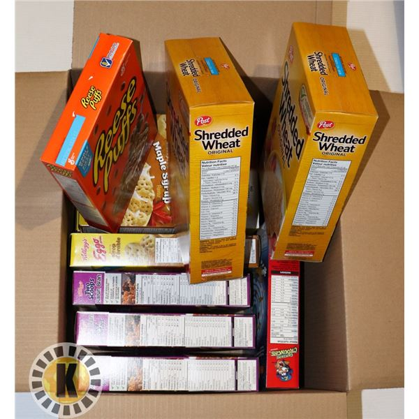 BOX OF ASSORTED CEREAL