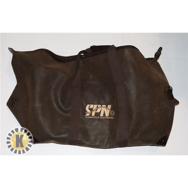SLO-PITCH NATIONAL BAG- LARGE, BROWN &LEATHER