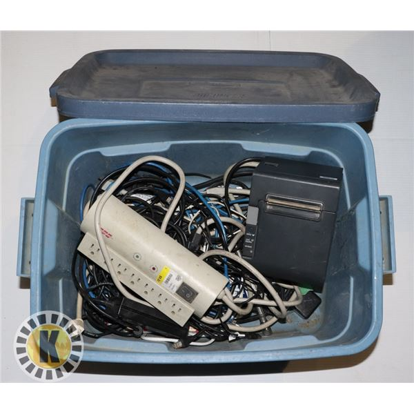 BOX WITH TILL PRINTER AND ASSORTED CORDS