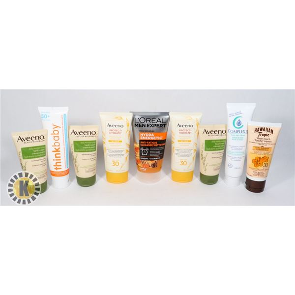 BAG OF ASSORTED FACE/ HAND CREAMS AND SUNSCREEN