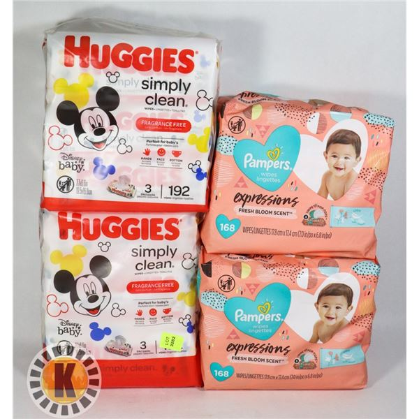 4 PACKS OF ASSORTED BABY WIPES