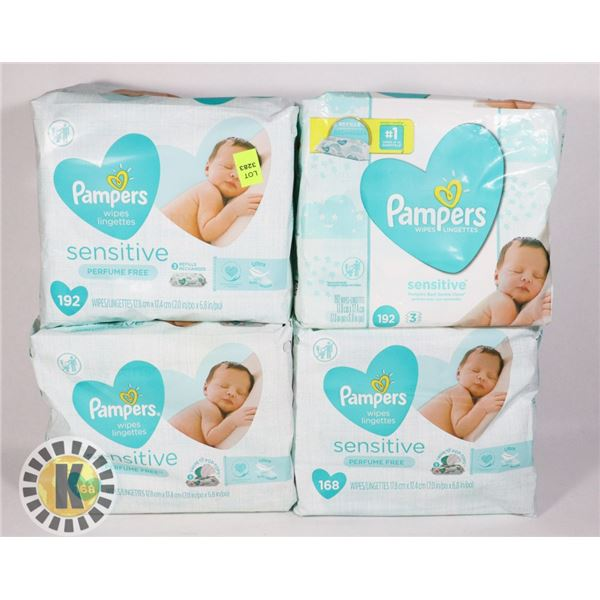 4 PACKS OF PAMPERS SENSITIVE BABY WIPES