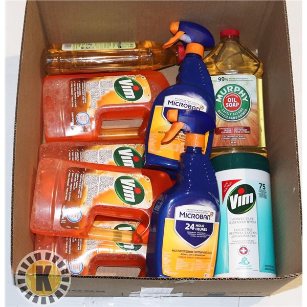 FLAT OF HOUSEHOLD CLEANING PRODUCTS