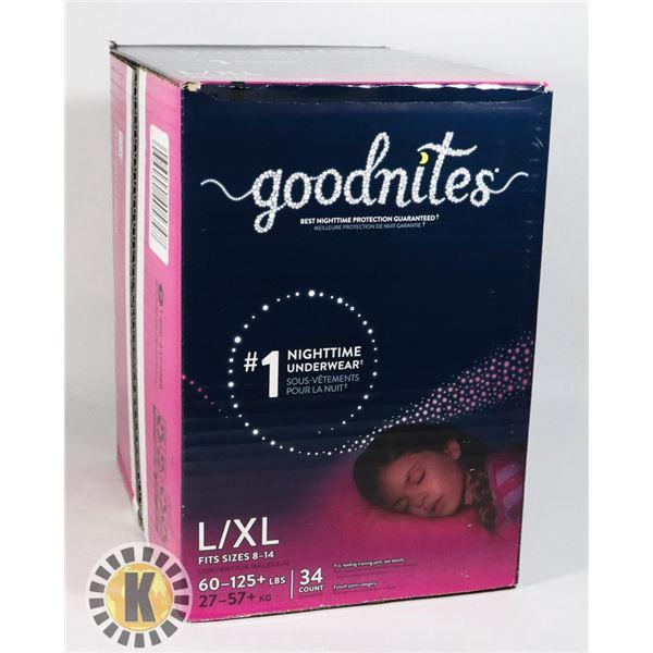 CASE OF GOODNITES SIZE L/ XL