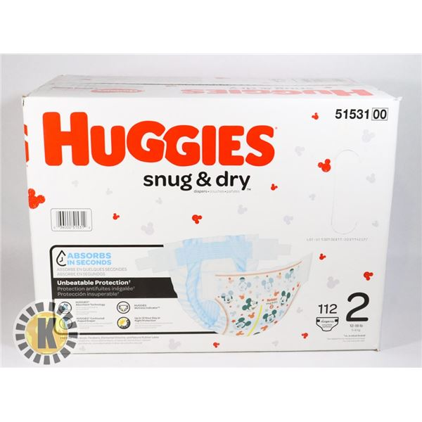 CASE OF HUGGIES SNUG AND DRY SIZE 2